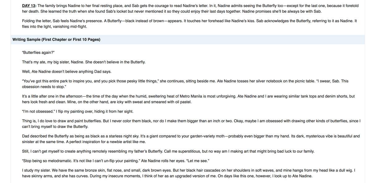 Screenshot of Writing Sample on Email Inbox